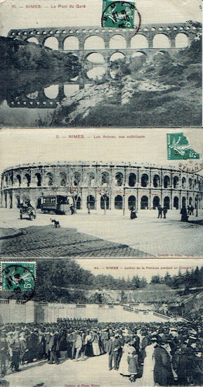 Lot of 3 SILK postcards FRANCE, Nimes (30)
