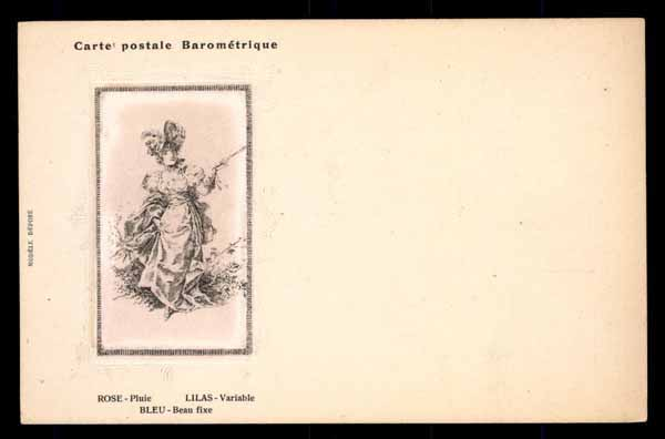 BAROMETRIC postcard, colors vary with the weather, woman