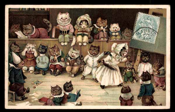 Artist LOUIS WAIN, dressed cats in school