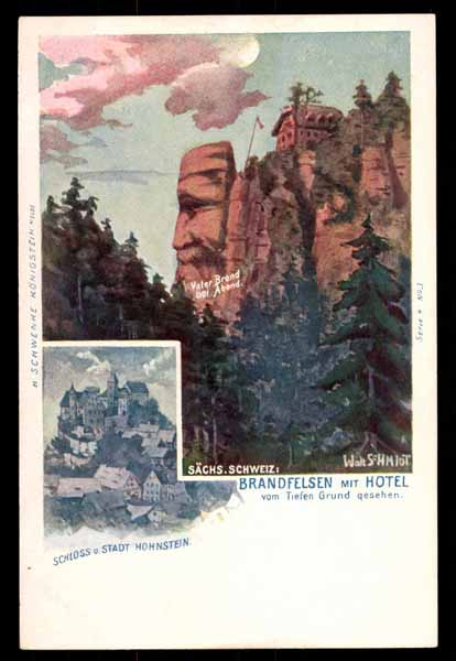 SURREALISM, Brandfelsen mit hotel, faces in the mountains