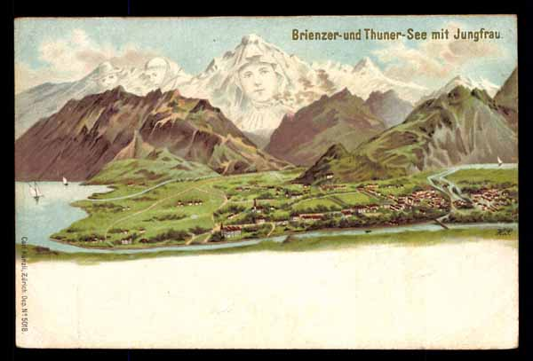 SURREALISM, Brienzer und Thuner See, Switzerland, faces in the mountains