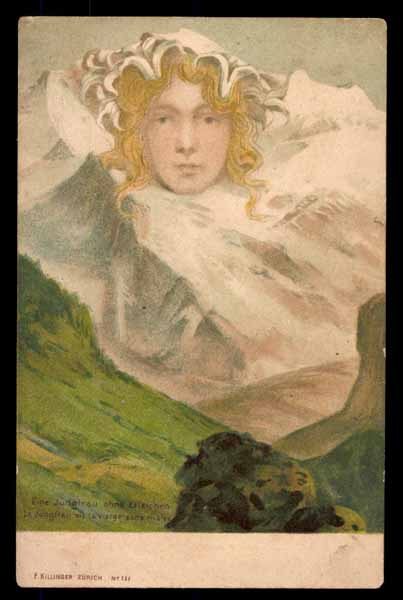 """SURREALISM, \""""Jungfrau\"""", faces in the mountains"""