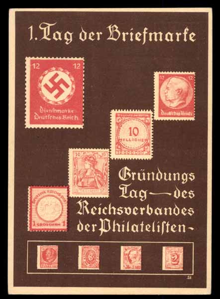 TAG DER BRIEFMARKE, Grundungs Tag des Reichsverbandes der Philatelisten, STAMP, WW II