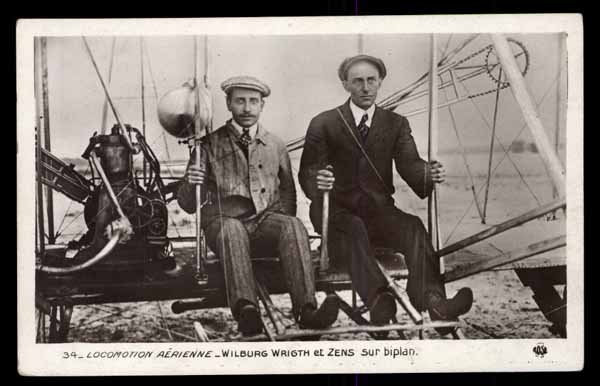 EARLY AVIATION, Wilburg Wright et Zens sur Biplan