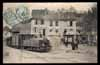 FRANCE, Pont-de-Beauvoisin, Place Carouge et steam tramway à vapeur, animé (73)