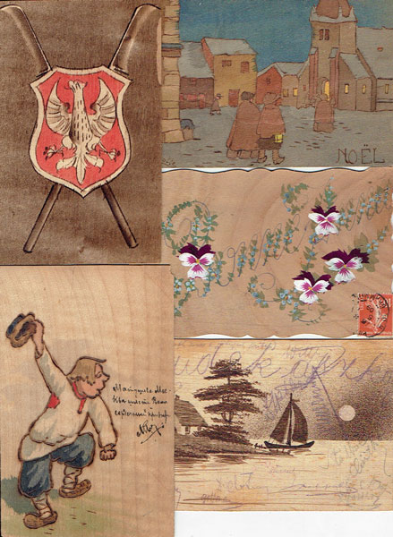 Lot of 24 postcards made of WOOD, wooden postcards