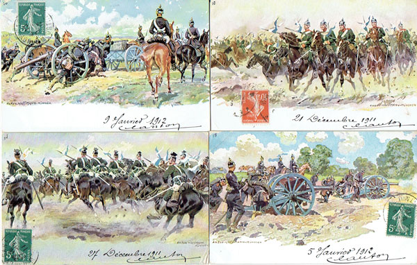 Lot of 8 postcards artist HOFFMANN, military, WW I