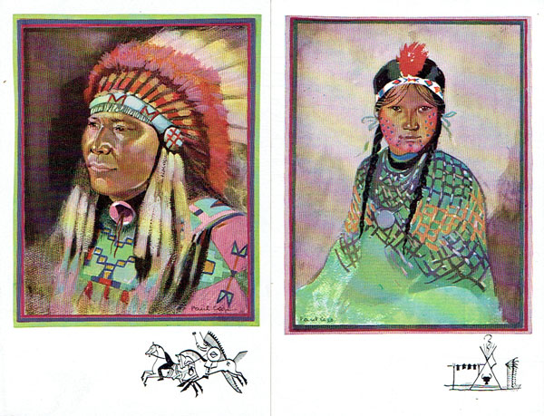 Lot of 6 postcards artist COZE, all INDIANS Ethnic