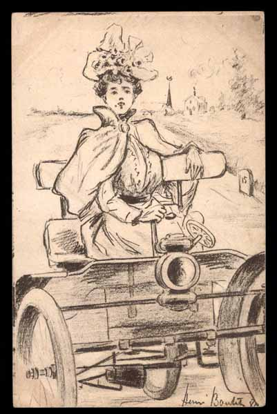 Artist BOUTET, woman in automobile