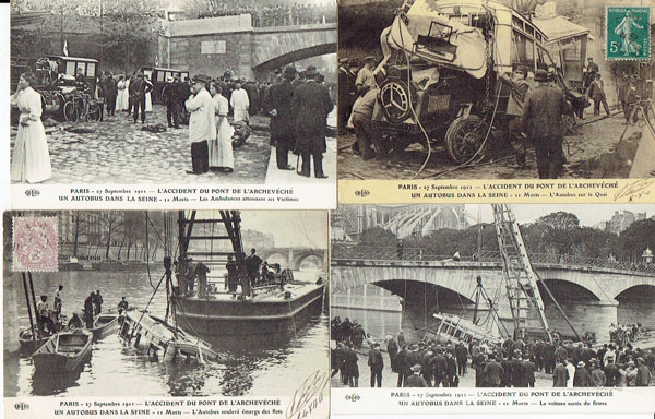 Lot of 14 postcards FRANCE, Paris, Accident du pont Archeveche 1911, animé (75)