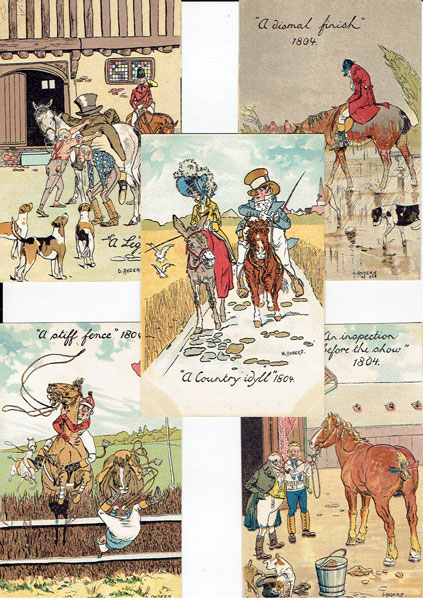 Lot of 9 DRAWN postcards HORSE HUMOUR