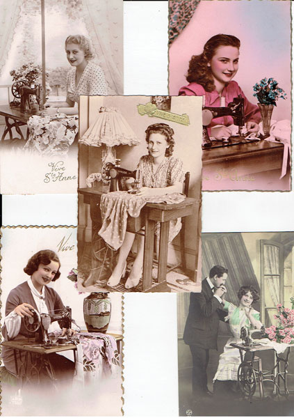 Lot of 17 postcards SEWING MACHINE